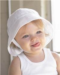 "Bella - Baby Infant Twill Sun Hat - 160  View Size Specification  Catalog Page: 229  Fashionable sun protection for baby with a 3"" brim and easy Velcro closure.        100% cotton twill, cotton poplin lining      Six-panel rounded crown      ½"" wide chin strap with Velcro closure"