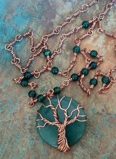 Copper and Aventurine Tree Necklace | Flickr - Photo Sharing!