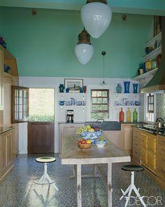 Moroccan Tile on the floor and backsplash.   Mogador (wall) & Batha (floor) from Mosaic House      LookBook | Eclectic Kitchen | ELLE Decor