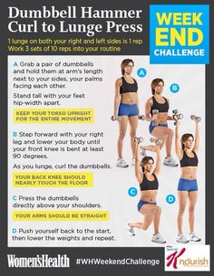 Weekend Challenge: Dumbbell Hammer Curl to Lunge Press Tone your entire body with this tough lunge variation Weekend Workout, Butt Workout, Workout Exercises, Workout Fitness, Workout Guide, Workout Challenge, Weekender, Best Love Handle Workout, Hammer Curls
