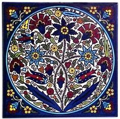 Hand painted Armenian tile... . I love the colors. Just need to figure out the best place for it in my house.