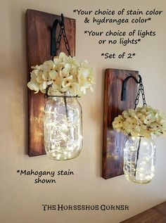 Hang this adorable SET OF 2 mason jar candle holders for a little rustic charm...NOW AVAILABLE WITH OPTIONAL 6-HOUR TIMER FIREFLY LIGHTS Let us design, just for you, a charming SET of 2 handmade wall sconce candle holders which started their life as a piece of reclaimed wood...the
