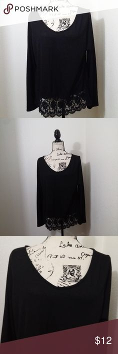 """Sz 1X Blush long sleeve sweater embroidered hem Blush long sleeve black sweater with embroidered hem detail.   Plus size 1X - 21"""" pit to pit, 24"""" length.  See photos for details. Smoke free, pet friendly home.   Please message me with any questions. Ask if additional size detail is needed.   15% discount for 3+ item bundles. Check out my closet. Happy Poshing!  555/E Blush Sweaters"""