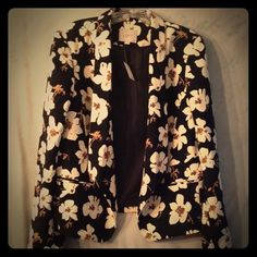 LOFT Open Jacket/Blazer Black Floral Sz L NWT This great black floral open blazer from LOFT is new with tags, in a size large. It's a versatile piece, it can be  dressed up with trousers or a skirt, or worn casually with a t-shirt and jeans. LOFT Jackets & Coats Blazers