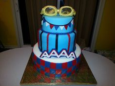 "Other Cakes - Swim Team cake for ""Golden Goggles"" awards banquet. Goggles are gumpaste with isomalt lenses. Swim Party Cupcakes, Cupcake Party, Swim Cake, Swimming Cake, Swimming Diving, Swim Team Party, Swim Mom, Isomalt, Team T Shirts"