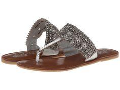 Naughty Monkey Longshot Beaded Flat Thong leather silver .5h (47.99) NA 1/16