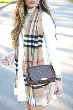 White Knit Sweater Dress / Burberry Plaid Scarf / Louis Vuitton Bag