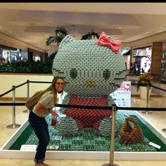 Giant Hello Kitty made of cans!