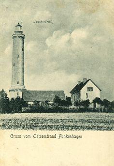 Der Leuchtturm von Funkenhagen..... Heute ein Dorf in der polnischen Woiwodschaft Westpommern Karte von 1909, Samml. Hameister https://www.facebook.com/231510676882650/photos/a.236820109685040.64897.231510676882650/1057754554258254/?type=1