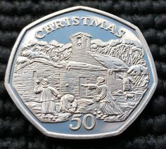 (W59) Isle of Man - Rare 1996 Christmas Proof 50p Fifty Pence coin (large type)