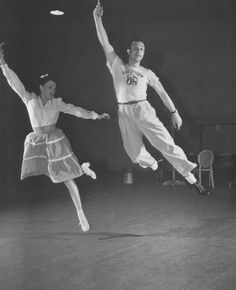 Judy Garland and Gene Kelly rehearsing a dance number for For Me and My Gal, 1941