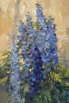 Alexi Zaitsev: Delphiniums in evening light