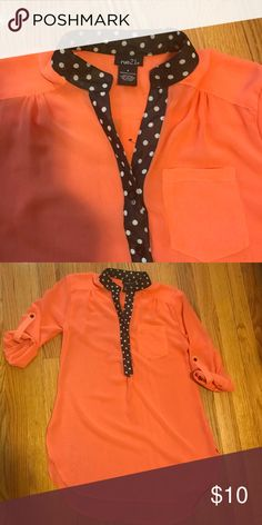 Rue 21 Sheer blouse/top Rue 21 Sheer shirt. It's a coral color. I adore it, it's just a tad too tight in the chest area for me. Rue 21 Tops Blouses