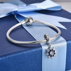 """""""Snow Charm"""" Silver Christmas, Christmas Snowflakes, Pendant Jewelry, Pendant Necklace, Blue Crystals, 1 Piece, Charmed, Sterling Silver, Winter Blue"""