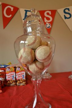 Memorial names if family members that passed away written on a ball..  --  Vintage baseball centerpiece --