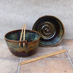Pair of noodle bowls handthrown in stoneware