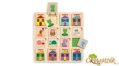 Találd ki hol lakik és találd ki mit eszik a kisállat, és rakd a megfelelő helyre. Jópofa játék nyitogatható ajtócskákkal a Djecotól. Készségfejlesztő fajáték 2 éves kortól kb. 4 éves korig. A játék mérete: 25x25 cm Advent Calendar, Holiday Decor, Home Decor, Wish List, Painted Wood, Infancy, Toy, Decoration Home, Room Decor