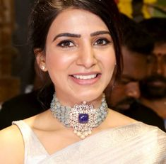 Samantha Akkineni in a statement beads choker with pendant adorned with polki diamonds, sapphire and pearls by Akoya jewels. Jewel Choker, Diamond Choker Necklace, Beaded Choker, Choker Necklaces, Diamond Bracelets, Emerald Necklace, Pendant Necklace, Silver Necklaces, Bangles