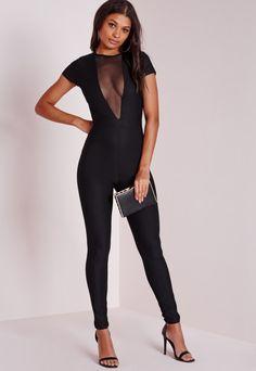 Mesh Plunge Insert Tapered Leg Jumpsuit Black - Jumpsuits - Missguided