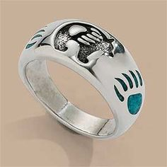 7762677506: Silver and Turquoise Bear Paw Ring