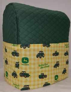 Quilted Green/Yellow Tractor Sunbeam Heritage Series 4.6qt Mixmaster Cover