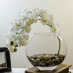 Orchid Arrangement with Silk Orchid Plant Faux Artificial White Silk Flowers in Half Moon Glass Vase