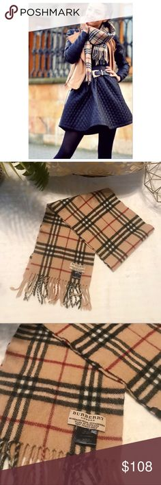 "Burberry London Kids Plaid Scarf Keep warm in this adorable Burberry Kids Unisex Plaid Scarf. 💯Authentic. 90% Merino Wool, 10% Cashmere. In Good Used Condition. Tiny little hole as shown in the last pic, Still has a lot of life left. Measures 43""+ fringe, x 7"". Super cute for kids! Can fit a small adult neck( I think) ✨ Burberry Accessories Hats"