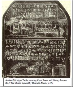First discovered during 1858, the tablets continued to be found until the early 20th Century in over 27 counties throughout the state of Michigan. All tablets bare Judaeo-Christian motifs and inscriptions in an unknown language. The animals depicted, include mammoths and elephants.