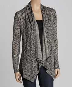 Black & White Variegated Drape Open Cardigan #zulilyfinds