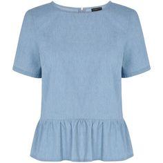 Warehouse Peplum T-shirt (£6) ❤ liked on Polyvore featuring tops, t-shirts, shirts, blouses, denim light wash, women, blue shirt, lightweight shirt, regular fit shirts and t shirt