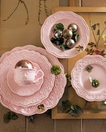 pretty pink dishes from horchow...would love these for Valentines Day dinner