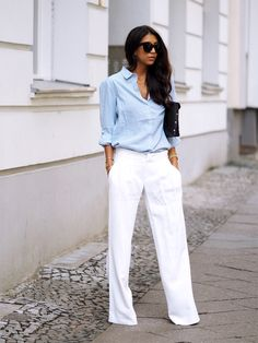 button down shirt with white pants