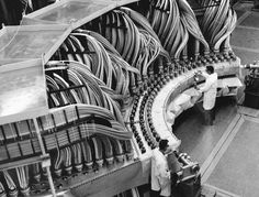 A view of inside Los Alamos National Laboratory as researchers work on a nuclear testing project in 1974.