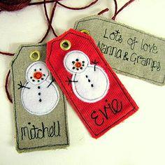 맞춤형 눈사람 크리스마스 태그 - 리본 및 포장