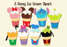 8 DISNEY ICE CREAM CLIPART - DIGITAL FILES - 11 x 16 HIGH RESOLUTION - GOOD FOR STICKERS, PLANNER STICKERS, PRINT ON TEES, PERSONALISED PARTY GAMES, DECORATIONS ETC. DISNEY CUPCAKE CLIPART: Disney Diy, Disney Crafts, Planner Stickers, Ice Cream Clipart, Cupcake Clipart, Disney Pins Sets, Disney Doodles, Disney Cupcakes, Felt Crafts Patterns