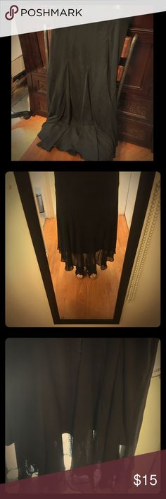 """Black layered chiffon skirt mermaid cut The pictures do not do this skirt justice! The movement of the chiffon top layer is so feminine and flowing. Only worn once, doesn't quit fit me. Stretchy waist band, very comfortable and lightweight, ankle length on me at 5'3"""". It flares out mermaid-style at the bottom while fitting snugly at the hip. Lapis Skirts Maxi"""