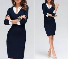 Look elegant with ease in this exquisite blue pencil dress!