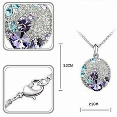 2,48€ Wholesale Crystal Rhinestone Pendant Short Necklace Alloy Silver Plated