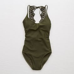 Perk up! Removable pads, Soft nylon with the right amount of stretch, One-piece, Scoop front, Extra WOW! Pretty unlined lace back, Back tie closure Aerie femal…