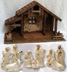 Christmas Crib: Nativity Set 6 inch Porcelain figures with stable