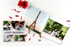 A custom photo book lets you tell your own love story. Your wedding photos in a beautiful photo book. Save today