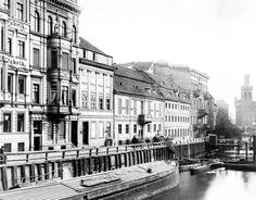 Berlin, Die Burgstraße von der Kurfürstenbrücke Richtung Mühlendamm, 1889 F.A. Schwartz