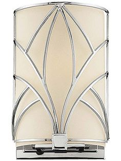 Art Deco Storyboard Flush Wall Sconce With Etched Glass Shade