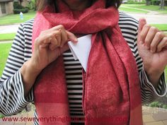 Sewing expert, Samina Mirza shows you how to make a scarf with a hidden pocket for moms on the go with step by step sewing instructions. Fleece Scarf, Diy Scarf, Sewing Hacks, Sewing Tutorials, Sewing Tips, Sewing Ideas, Sewing Crafts, Diy Pouch No Sew, Sewing Scarves