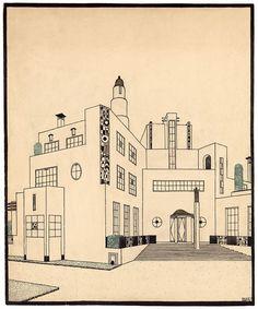 Architectures de papier : dessins de Piranèse à Mallet-Stevens, jusqu'au 21 juin 2015 au Musée Nissim de Camondo / Robert Mallet-Stevens (1886-1945), Projet de maison de campagne pour Jacques Doucet, vers 1924 © Les Arts Décoratifs, Paris
