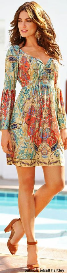 Boho Chic Dress...  I love the pattern and the cut.  Really cute. I could see me in this.