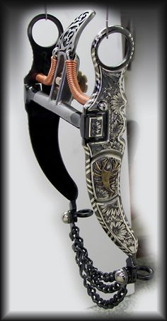 Handmade, spade bit, horse bit, nevada cheeks, scorpion, gold, silver, striped edges, Maker, Jeremiah Watt
