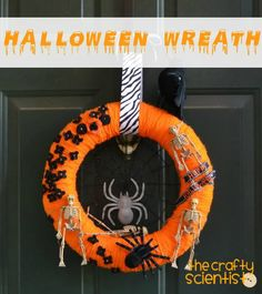 Halloween Wreath. I have made these before and they are really simple and quick. Easy to personalize with your own items. Also, if you can't afford a foam wreath, or live in a small town like me where they don't have those sort of things there is a solution. Swimming noodle, yep thats right. Cut the noodle to the size you want your circle to be and duck tape it into place. Tada! Simple foam wreath for a less than a dollar.