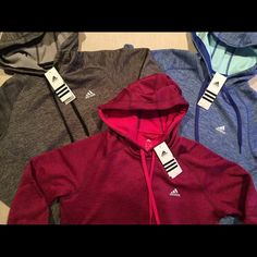 Adidas Bundle 3 Hoodies Gray, Blue & Red All Sizes I have more colors and sizes just ask.  Brushed Fleece Hoodie: Kangaroo pocket Adjustable drawcord hood Fleece lined hood and body Thumbhole at cuff Climawarm™ technology Adidas Tops Sweatshirts & Hoodies