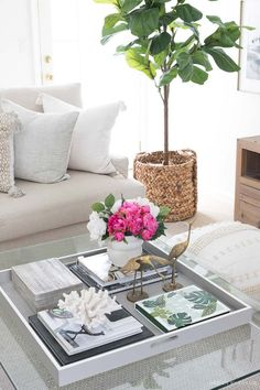 I'm a sucker for pretty coffee table decor so was thrilled when the ladies from Project Design (Cindy from Rough Luxe Lifestyle, MaryAnn from Classic Casual Home, & Annie from Most Lovely Things) asked me Coffee Table Styling, Diy Coffee Table, Coffee Table Design, Decorating Coffee Tables, Coffee Table Decorations, Books On Coffee Table, Coffee Table Vignettes, Tray Styling, Dessert Tables